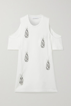 Area Cold-shoulder Embellished Stretch-jersey Mini Dress - White