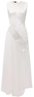 Germanier - Crystal-embellished Tulle And Upcycled-satin Gown - White