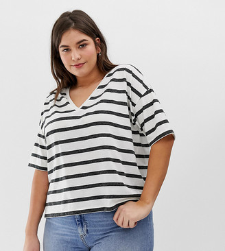 Asos DESIGN Curve linen mix mix t-shirt with v-neck in stripe