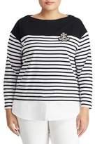 Lauren Ralph Lauren Plus Stripe Layered Cotton Sweater