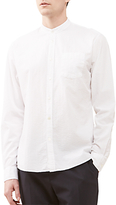 Jigsaw Seersucker Cotton Grandad Collar Shirt, White