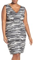 Tart Plus Size Women's 'Viera' Piped Detail V-Neck Sheath Dress