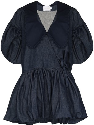 Kika Vargas puff sleeve V-neck denim dress