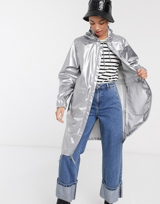 Rains long wind jacket in silver