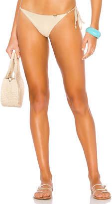 Luli Fama Lace Trim Ruched Back Bikini Bottom