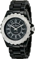 Peugeot Women's 7055BK Swarovski Crystal Bezel Black Acrylic Watch
