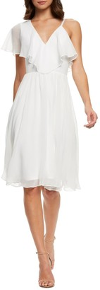 Dress the Population Claudia Asymmetrical Ruffle Sleeve Dress