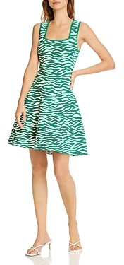 Milly Zebra Print Fit-and-Flare Dress