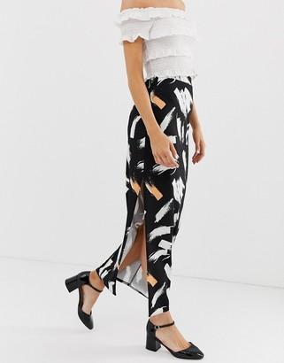 Asos Design DESIGN city maxi skirt with side split in brush print-Multi