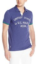 U.S. Polo Assn. Men's Slim-Fit Flocked Logo Pique Polo Shirt