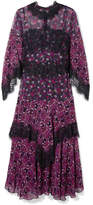 Anna Sui Incense And Joy Lace-trimmed Printed Silk-chiffon Midi Dress - Purple