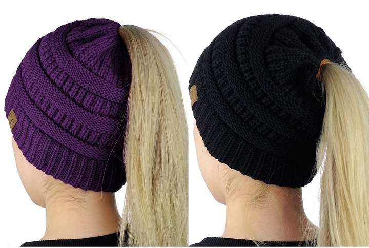 e2121f5e8168f Purple Cable Knit Hat - ShopStyle Canada