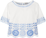 Temperley London Gilda embroidered cotton-poplin top