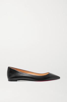 Christian Louboutin Ballalla Leather Point-toe Flats - Black