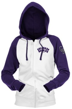 5th & Ocean Colorado Rockies Women's Zip-Up Contrast Hoodie
