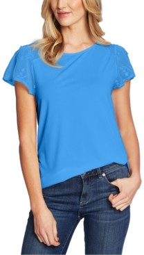 CeCe Embroidered Mesh-Sleeve Top