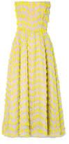 Carolina Herrera Strapless Embroidered Organza Midi Dress - Yellow