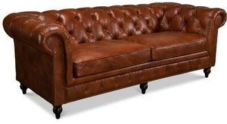 Carola Leather Chesterfield Sofa Charlton Home Upholstery Color: Vegetable Brown