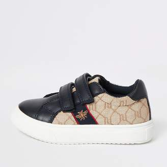 River Island Mini boys navy RI monogram trainers
