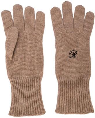 Raf Simons Contrast Lettering Logo Gloves