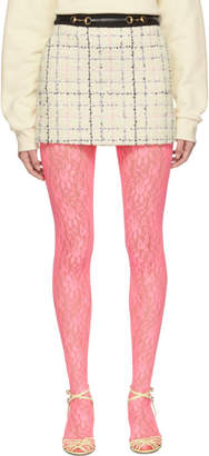 Gucci Off-White and Pink Miniskirt