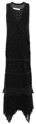 Jonathan Simkhai Plisse Chiffon-trimmed Crocheted Cotton Maxi Dress