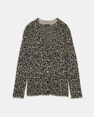 Theory Leopard Jacquard Cardigan in Soft Alpaca