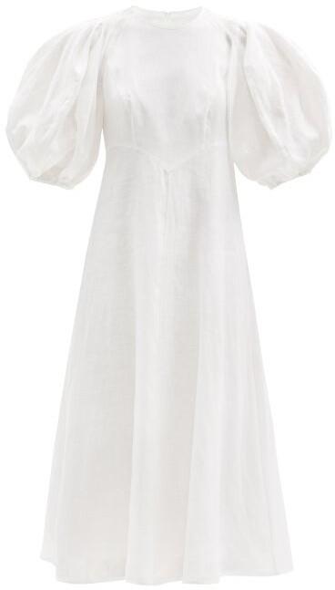 Zimmermann Puffed-sleeve Linen Midi Dress - White