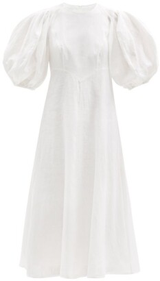 Zimmermann Puffed-sleeve Linen Midi Dress - White