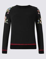 Per Una Pure Cotton Embroidered Sleeve Jumper