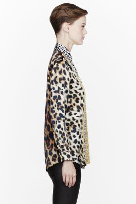 Versus Tan & gold Animal Print Blouse