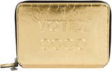 One Kings Lane Vintage Chanel Votez Coco Gold Clutch - Vintage Lux