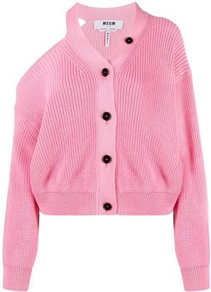 MSGM Cut-Out Cotton Cardigan