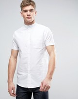 Brave Soul Oxford Grandad Short Sleeve Shirt With Pocket