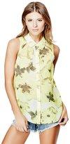GUESS Sera Cutout Floral-Print Chiffon Shirt