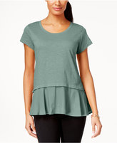 Style&Co. Style & Co Petite Layered-Look Peplum T-Shirt, Only at Macy's