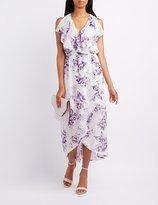 Charlotte Russe Floral Ruffle-Trim Surplice Maxi Dress