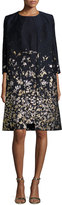 Oscar de la Renta Floral-Embroidered 3/4-Sleeve Coat, Navy/Gold
