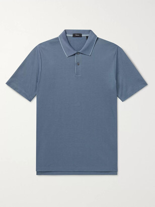 Theory Slim-Fit Contrast-Tipped Pima Cotton-Blend Polo Shirt - Men - Blue