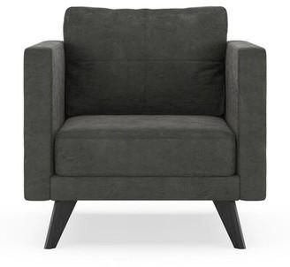 Crosslin Armchair Corrigan Studio Fabric: Charcoal, Leg Color: Black