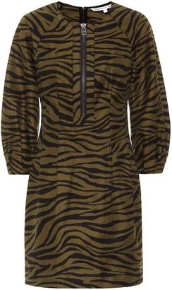 Veronica Beard Navi zebra-print cotton and silk minidress