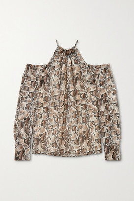 Altuzarra Elijah Cold-shoulder Bead-embellished Snake-print Silk-blend Blouse - Ivory