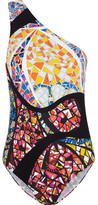 Emilio Pucci One-shoulder Printed Swimsuit - Black