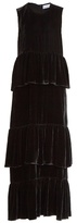 Raey Tiered ruffled velvet dress