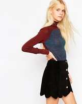 Asos Sweater With Roll Neck In Color Block With Stitch Detail