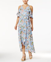 Trixxi Juniors' Printed Cold-Shoulder Maxi Dress