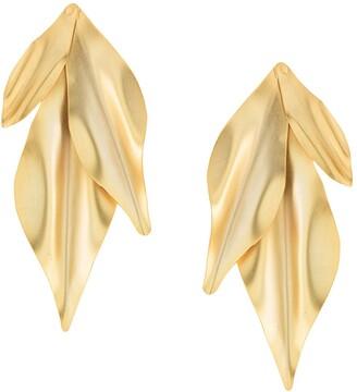 Mercedes Salazar Textured Leaf Earrings