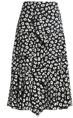 Proenza Schouler Ruffled Floral-print Silk Crepe De Chine Midi Skirt