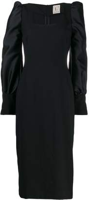 L'Autre Chose puff-sleeved fitted dress