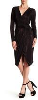 Rachel Roy Ribbed Faux Wrap Metallic Dress
